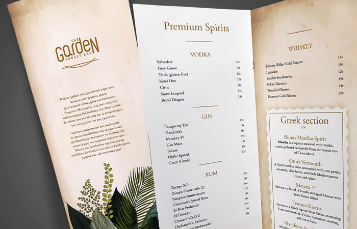 The Garden Mykonos Menus
